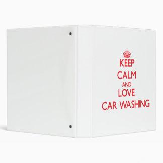 Keep calm and love Car Washing 3 Ring Binders