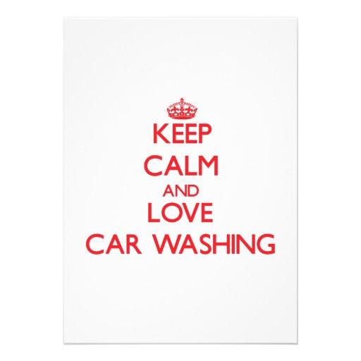 Keep calm and love Car Washing Invitations