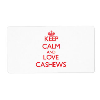Keep calm and love Cashews Personalized Shipping Label