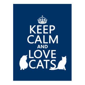 Keep Calm and Love Cats Postcard