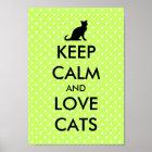 Keep calm and love cats poster | green polka dots