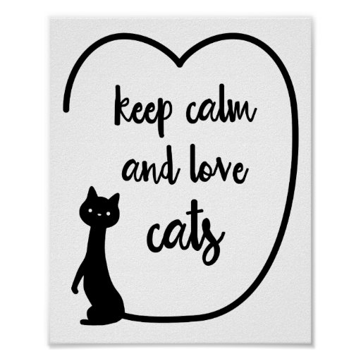 Keep calm and love cats quote wall art