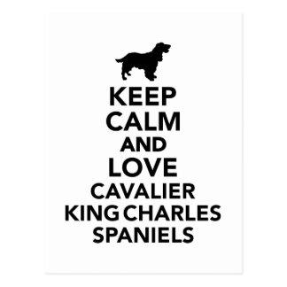 Keep calm and love Cavalier King Charles Spaniels Postcard