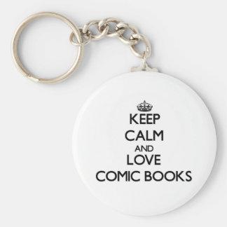 Keep calm and love Comic Books Key Chain