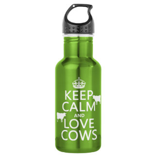 Keep Calm and Love Cows (all colors) 532 Ml Water Bottle
