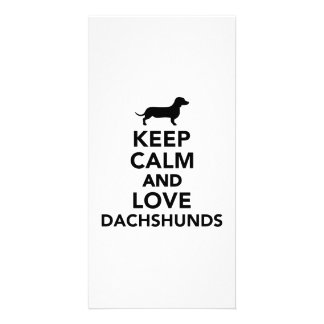 Keep calm and love Dachshunds Custom Photo Card