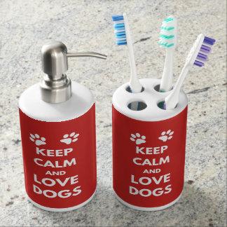Keep calm and love dogs bathroom set