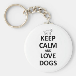Keep Calm and Love dogs Keychain