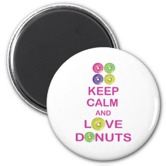 Keep Calm and Love Donuts Unique Doughnut Gift 2 Inch Round Magnet