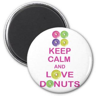 Keep Calm and Love Donuts Unique Doughnut Gift Fridge Magnet