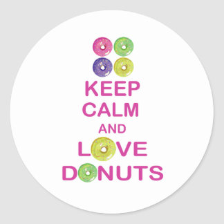 Keep Calm and Love Donuts Unique Doughnut Gift Round Sticker