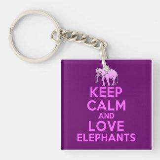 Keep Calm and Love Elephants Keychain