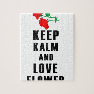 keep calm and love flower jigsaw puzzle
