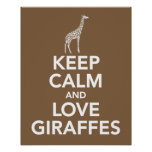 Keep Calm and Love Giraffes print or poster