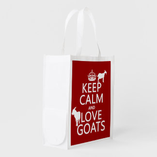 Keep Calm and Love Goats (any background color) Grocery Bag