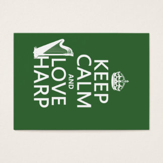 Keep Calm and Love Harp (any background color) Business Card