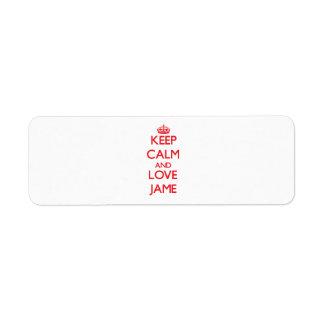 Keep Calm and Love Jame Custom Return Address Labels
