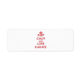 Keep calm and love Karate Custom Return Address Labels