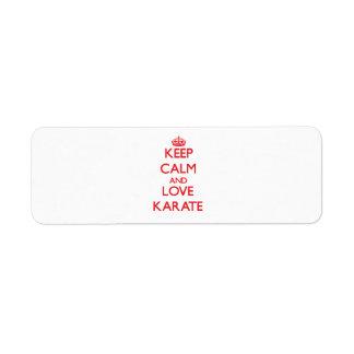 Keep calm and love Karate Custom Return Address Label