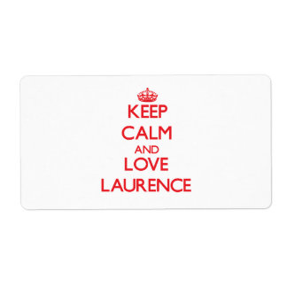 Keep Calm and Love Laurence Personalized Shipping Label