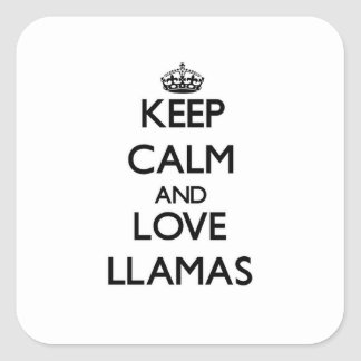 Keep calm and Love Llamas Square Sticker