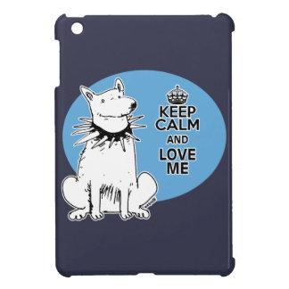 keep calm and love me cartoon style white dog iPad mini covers