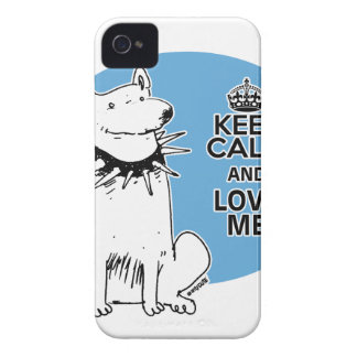 keep calm and love me cartoon style white dog iPhone 4 cases
