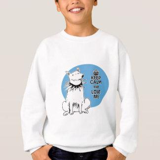 keep calm and love me cartoon style white dog sweatshirt