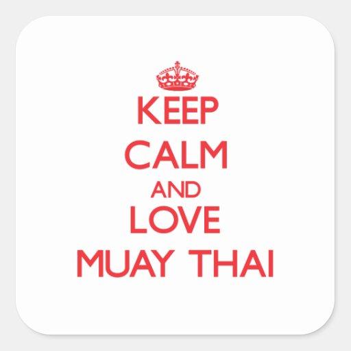 Keep calm and love Muay Thai Square Sticker