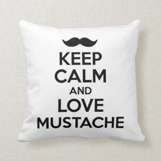 Keep Calm and Love Mustache Throw Pillow