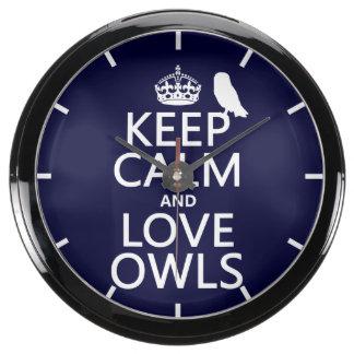 Keep Calm and Love Owls (any color) Aquavista Clocks