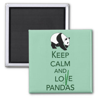 Keep Calm and Love Pandas Gift Art Print Square Magnet