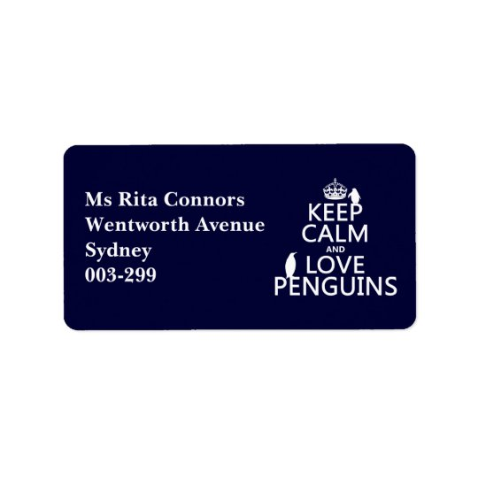 Keep Calm and Love Penguins (any colour) Label