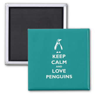 Keep Calm and Love Penguins Square Magnet