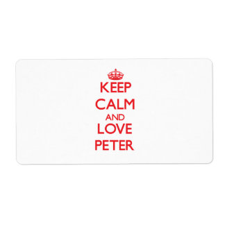 Keep Calm and Love Peter Personalized Shipping Label