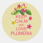 Keep Calm and Love Plumeria Fine Art Design Classic Round Sticker