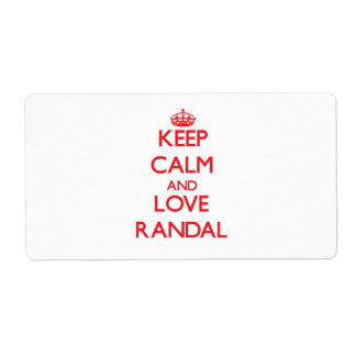 Keep Calm and Love Randal Personalized Shipping Label