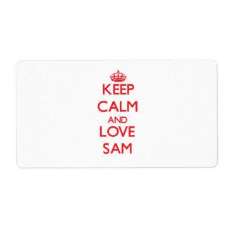 Keep Calm and Love Sam Custom Shipping Labels