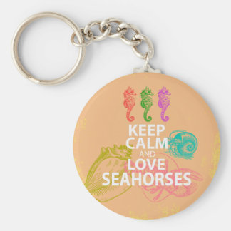 Keep Calm and Love Seahorses Gift Unique Design Keychain