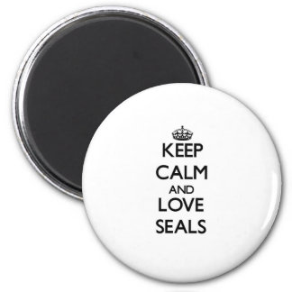 Keep calm and Love Seals Refrigerator Magnets