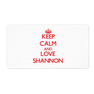 Keep Calm and Love Shannon Personalized Shipping Labels