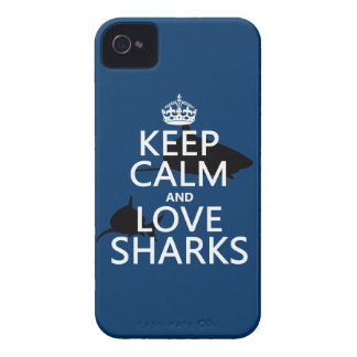 Keep Calm and Love Sharks (customizable colors) iPhone 4 Covers