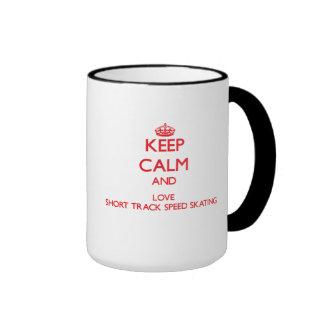 Keep calm and love Short Track Speed Skating Coffee Mugs