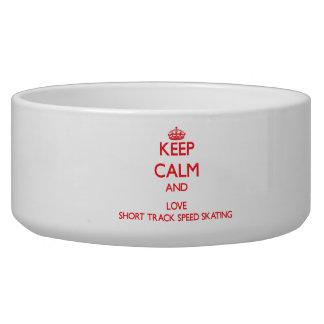 Keep calm and love Short Track Speed Skating Dog Bowls