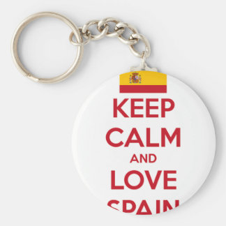 Keep Calm and Love Spain Basic Round Button Keychain