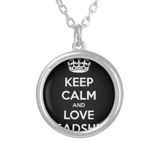 KEEP CALM AND LOVE SPREADSHEETS SILVER PLATED NECKLACE