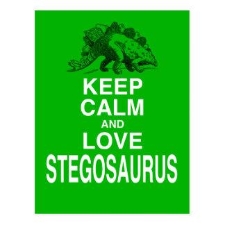 Keep Calm and Love Stegosaurus dinosaur design Postcard