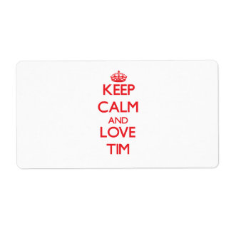 Keep Calm and Love Tim Shipping Labels