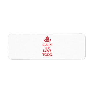 Keep Calm and Love Todd Return Address Label