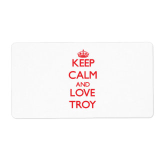 Keep Calm and Love Troy Shipping Label